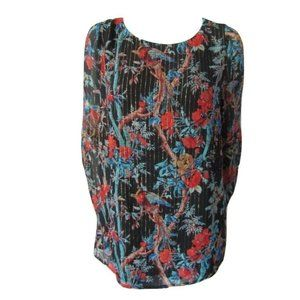 Club Monaco Silk Floral Blouse with Gold Thread L